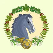 Black Horse Hunting Theme Vector