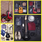 Collage of modern guitar
