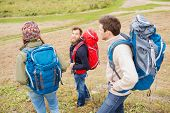 adventure, travel, tourism, hike and people concept - group of smiling friends with backpacks outdoors