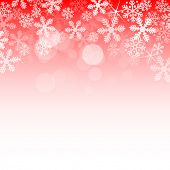 Abstract red christmas background with snowflakes