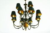 stock photo of chandelier  - Antique chandeliers hanging from the ceiling center frame made of metal - JPG