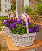 White Basket With Blooming Bells And Easter Eggs