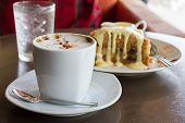 apple crumb cake and coffee