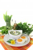 Green Herb Soup With Eggs And A Dollop Of Cream