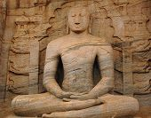 image of vihara  - Statue of seated Buddha in ancient city of Polonnaruwa in Gal Vihara Sri Lanka - JPG