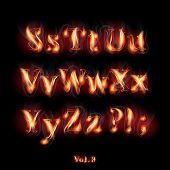 Fire Burning Latin Alphabet Letters. Set Vol.3 S-Z