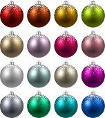 Colorful christmas balls with snow. Set of isolated realistic decorations. Vector illustration.
