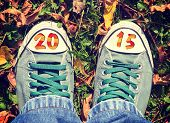 Shoes In The Leafs With 2015 Sign