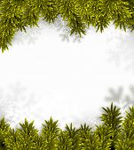 Coniferous fir frame over defocused snowflakes. Christmas background. Vector illustration.