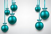 Abstract background with blue christmas balls. Vector illustration.