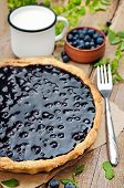 Blueberry Pie On Rustic Wooden Table