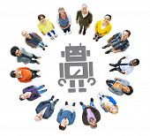 Group of Multiethnic People Looking Up with Technology Concept
