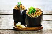 Eggplant Stuffed With Bulgur And Vegetables