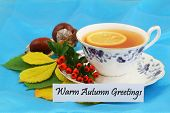 Warm autumn greetings card with vintage cup of tea, rowan berries, chestnuts and autumn leaves on bl