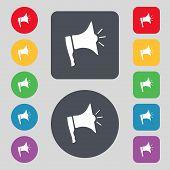 Megaphone soon icon. Loudspeaker symbol. Set colur buttons. Vector