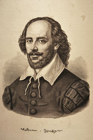 stock photo of william shakespeare  - William Shakespeare engraving portrait on rough ancient paper - JPG
