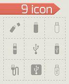 Vector black usb icon set