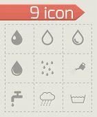Vector black water icon set