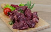 stock photo of deer meat  - Raw wild venison meat ready for cooking  - JPG