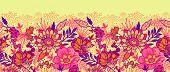 Fall flowers horizontal seamless pattern background border