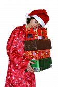 Sleeping Santa Claus With Christmas Gifts