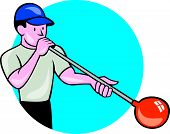 Glassblower Glassblowing Cartoon Circle