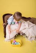 Child With Easter Egg Basket, Egg Hunt