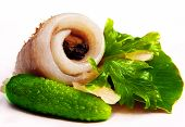 Herring On A Piece Of Lettuce.two Green Cucumber.peppers In Peas