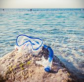 Mask And Snorkel Diving On The Pebble Beach