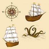 foto of kraken  - elements for design antique maps on a light background - JPG