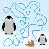 Funny penguins labyrinth game  winter card for Preschool Children. vector
