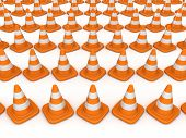 3d rendered traffic cones.