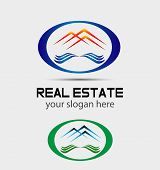 Vector house roofs icon, logo for the company isolated