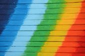 Bright And Colored Wooden Background With Rainbow Colors