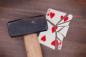 Hammer With A Broken Card, Five Of Hearts