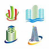 Real estate icons logo set tower symbol