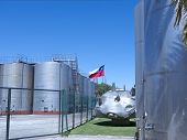 stock photo of fermentation  - Some wine metallic fermentation tanks - JPG