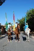 Flag bearers on horses, Marbella.