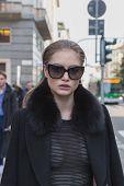 Beautiful Model Outside Anteprima Fashion Show Building For Milan Women's Fashion Week 2015