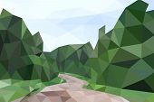 Low poly summer landscape