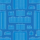 Seamless pattern with blueprint of dwelling buildings