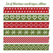 Set Of Vintage Christmas Washi Tapes, Ribbons, Vector