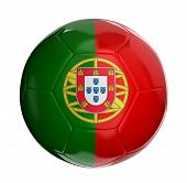 Soccer ball with Portuguese flag