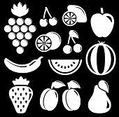 set white fruit silhouette