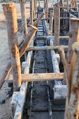 image of reinforcing  - construction house reinforcement metal framework for concrete pouring - JPG