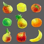 Set Of Low Poly Fruits
