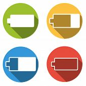 Collection Of 4 Isolated Flat Colorful Buttons For Battery