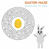 Isolated Easter Maze (with Solution In Eps)