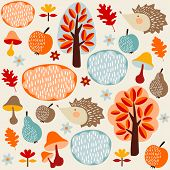 Autumn Fall Seamless Pattern With Fruit, Hedgehogs,trees