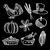 Set Of Thanksgiving Chalk Sketches On Blackboard, Vector